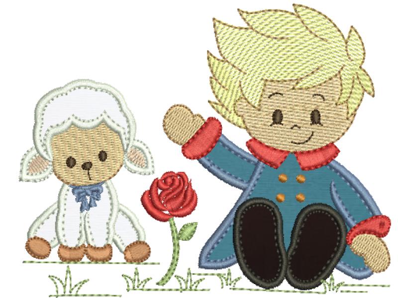 Pequeno Principe Sentado com  Ovelha - Aplique