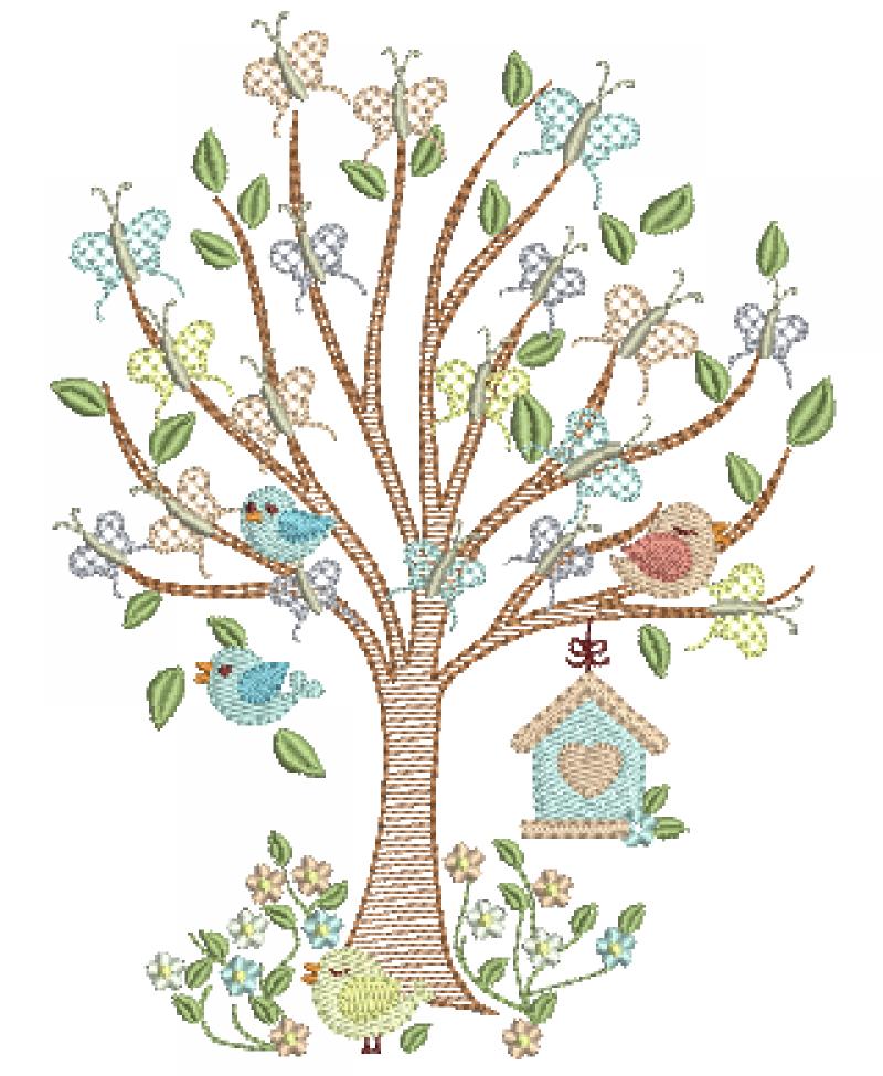 Árvore em Rippled com Borboletas e Passarinhos