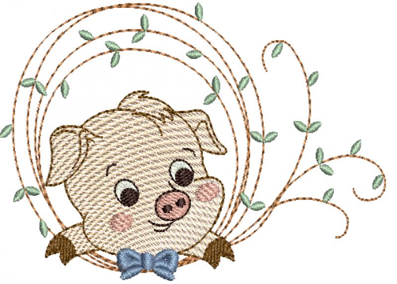Porquinho na Moldura de Folhas - Rippled