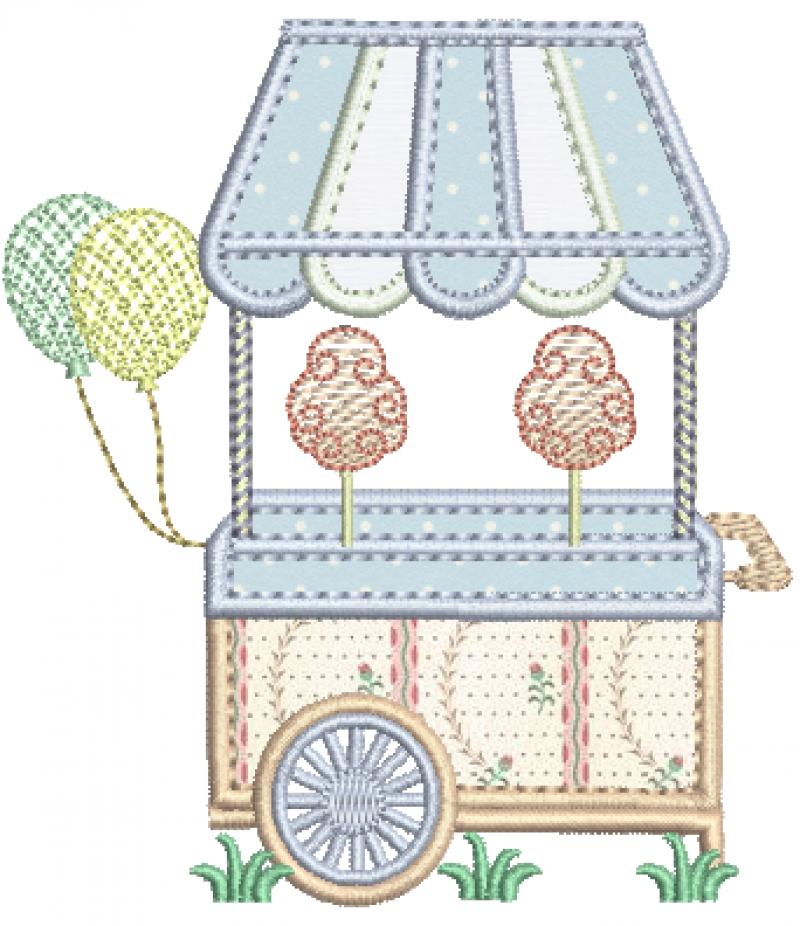 Carrinho de Algodão Doce e Balões - Aplique
