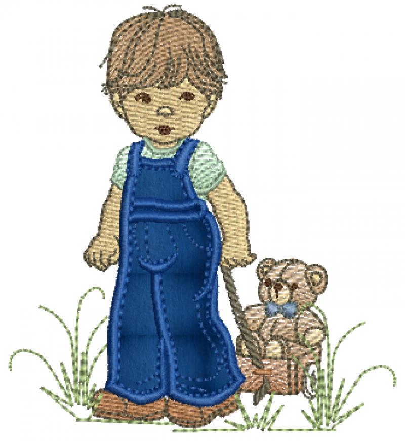 Menino Puxando Carrinho com Urso- Aplique
