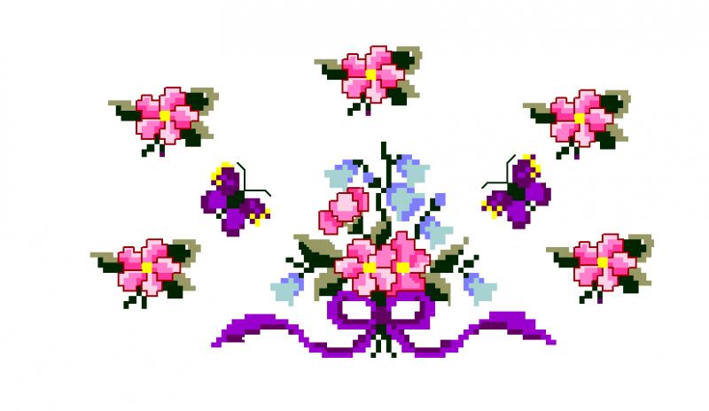 Raminho de Florzinhas e Laço  - Ponto Cruz