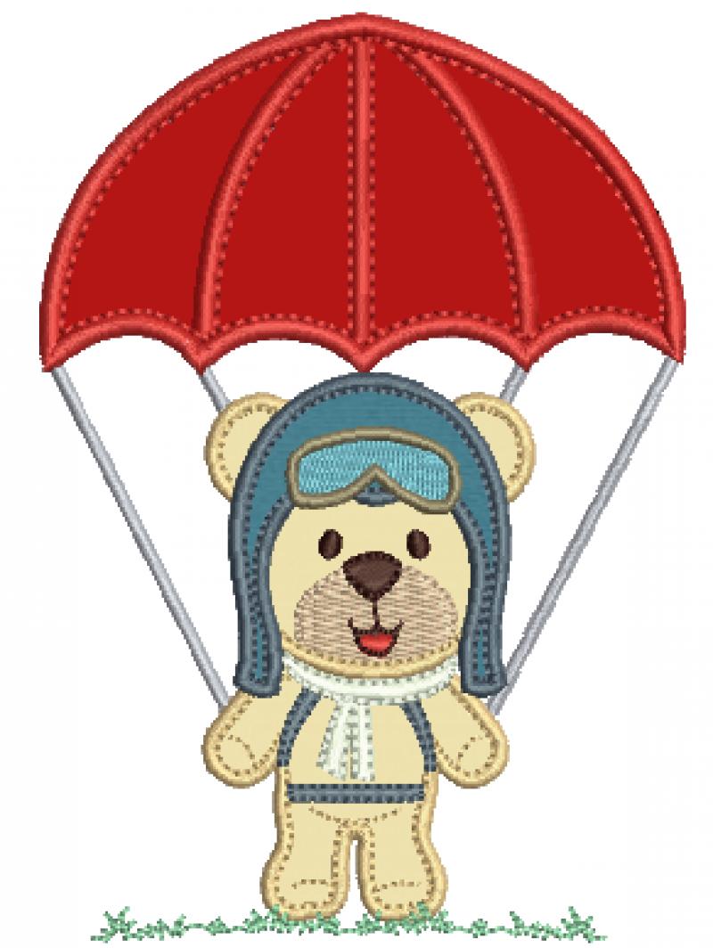 Urso Aviador no Paraquedas - Aplique