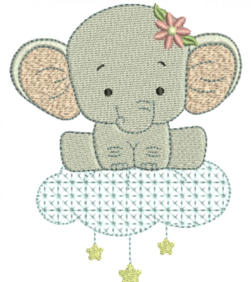Elefanta na Nuvem com Estrelas - Ponto Cheio