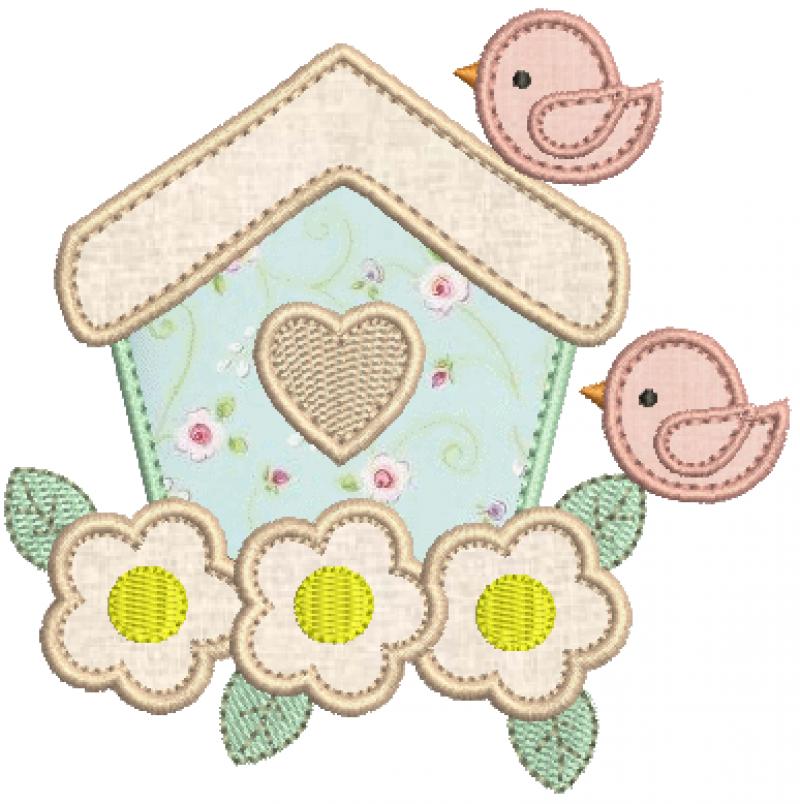 Casa com Passarinhos e Flores - Aplique