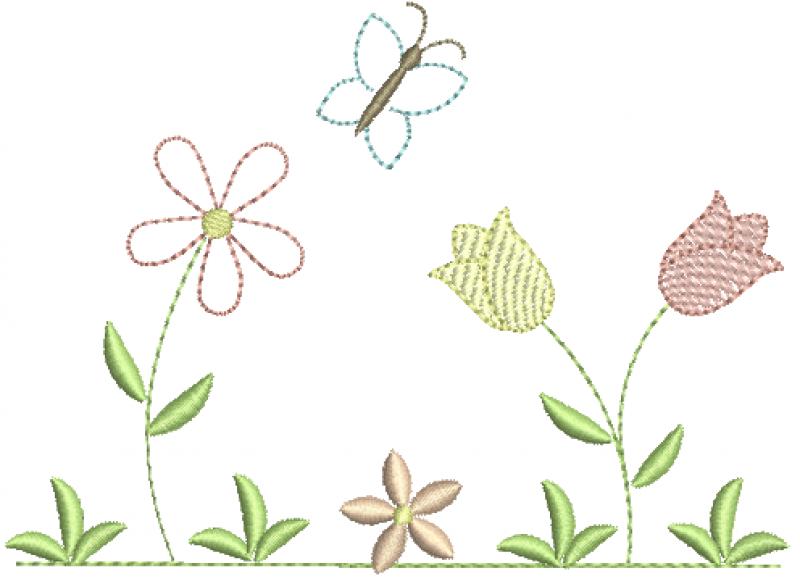 Jardim com Tulipa e Borboleta - RedWork