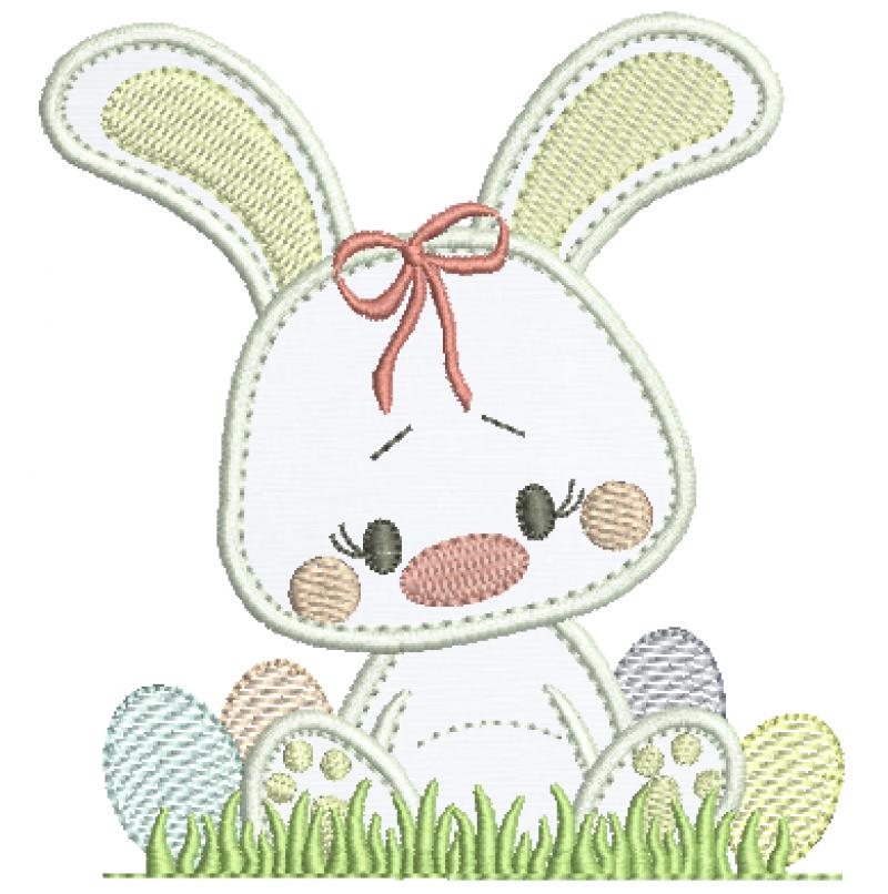 Coelha Sentada com Ovos - Aplique