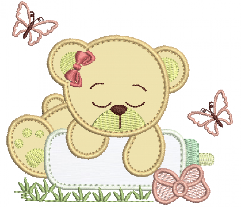 Ursa Dormindo na Mamadeira - Aplique