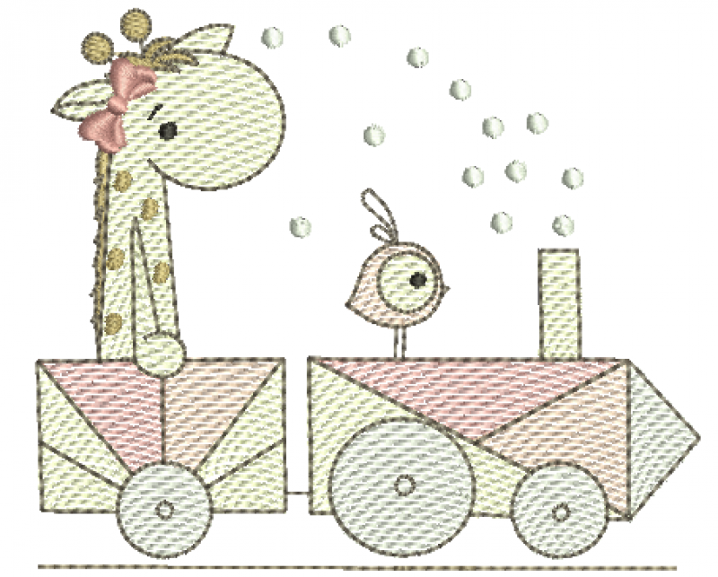 Girafa e Passarinho no Trem - Rippled