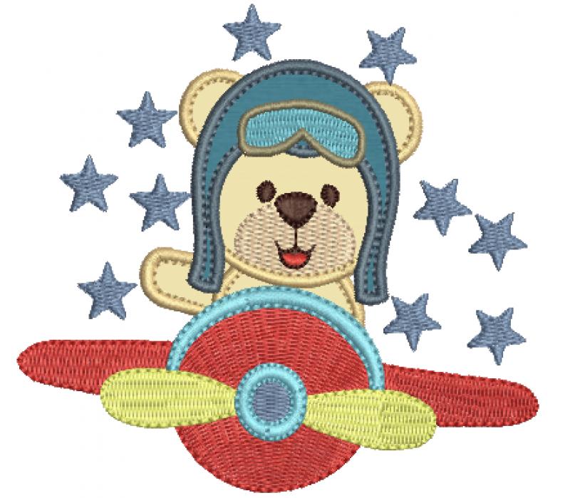 Urso Aviador no Avião - Aplique