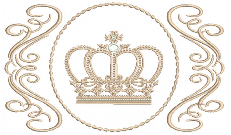 Arabesco com Coroa Realeza - Ponto Cheio