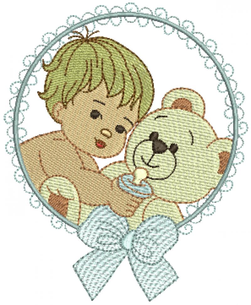 Menino Segurando Ursinho na Moldura com Laço - Rippled e Ponto Cheio