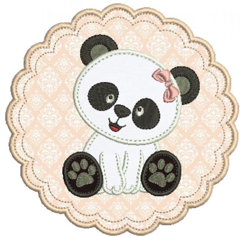 Ursa Panda Sentada na Moldura - Aplique