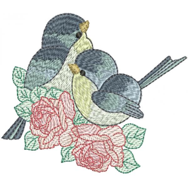 Passarinhos Casal e Rosas - Ponto cheio