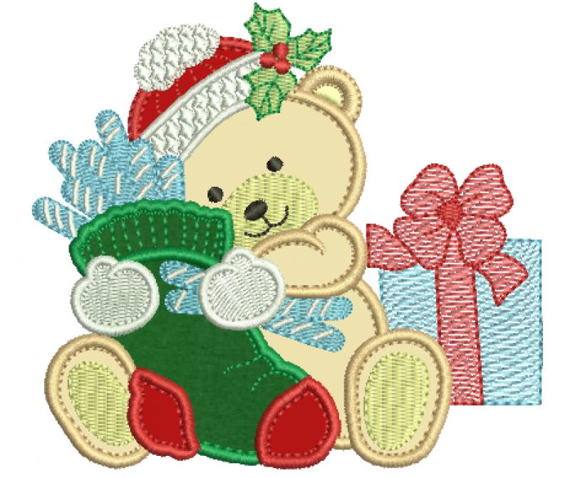 Urso Natalina Segurando Meia - Aplique