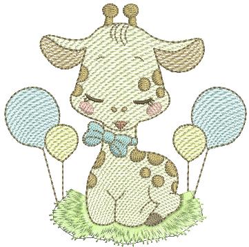 Girafa Menino com Bexigas - Rippled