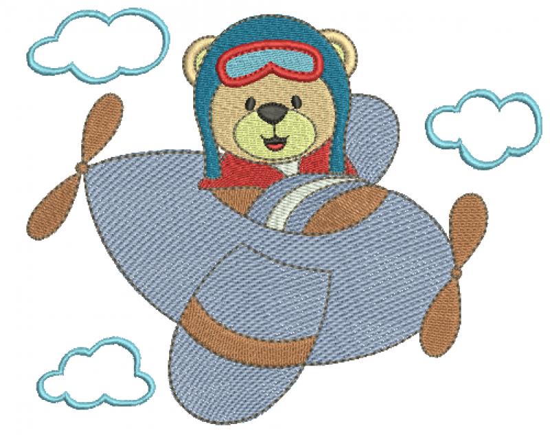 Urso Aviador com Nuvens - Ponto Cheio e Rippled