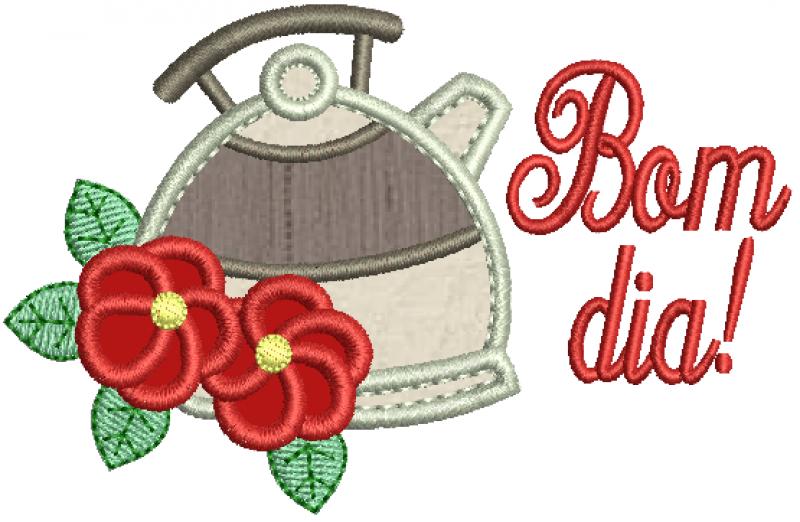 Bule com Flores e Bom dia - Aplique