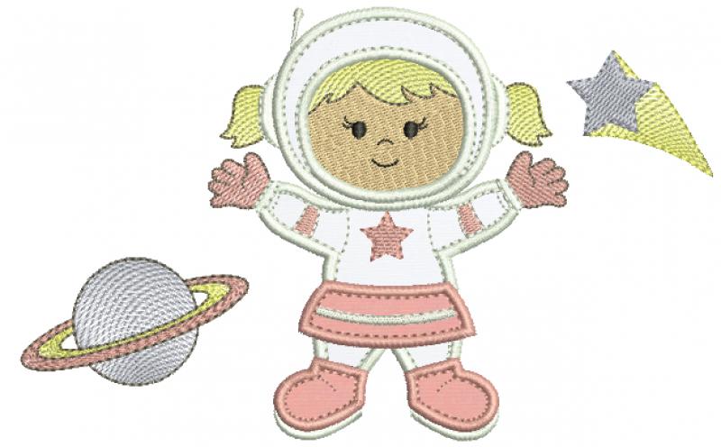 Menina Astronauta com planeta e Estrela - Aplique