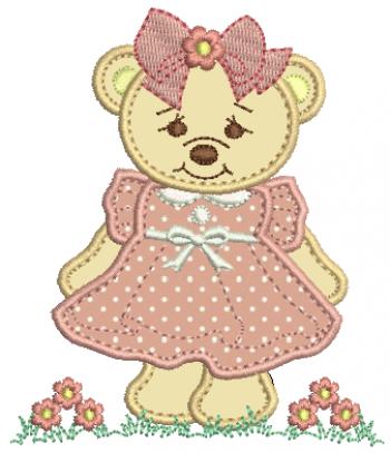 Ursa com Guirlanda de Flor e Laço - Aplique