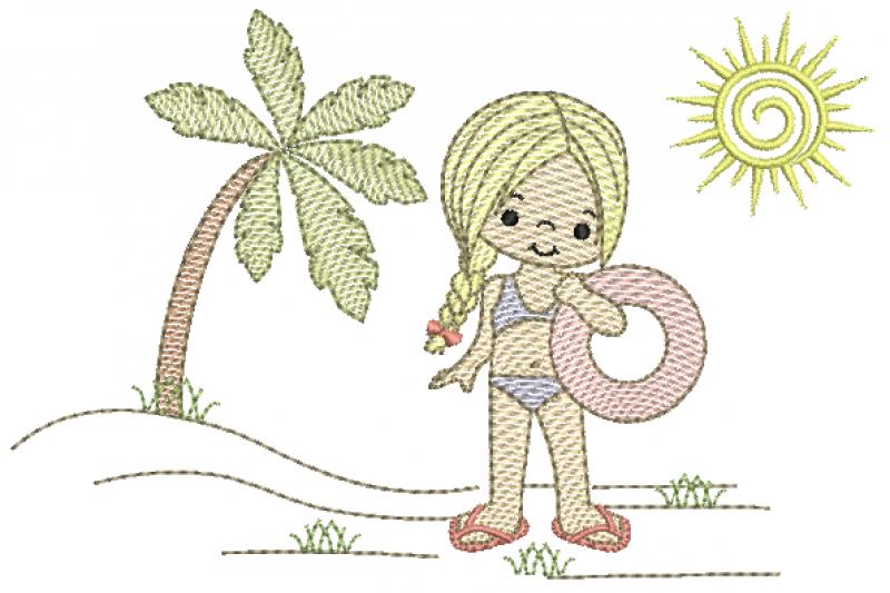 Menina na Praia com Bóia - Rippled