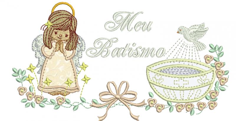 Anjo Menina Com Pia Batismal - Meu Batismo Aplique
