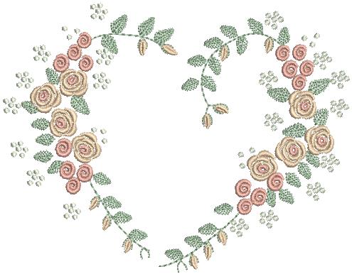 Coração com Ramo de Flores - Ponto Cheio