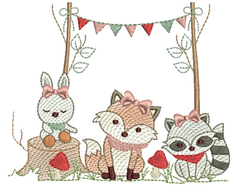 Animais na Floresta com Bandeirinhas Menina - Rippled