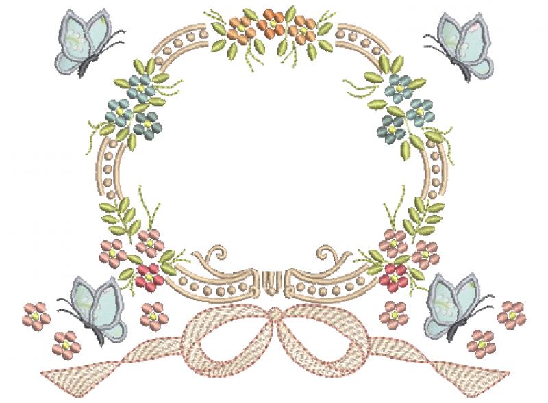 Moldura com Flores, Laço e Borboletas 3D