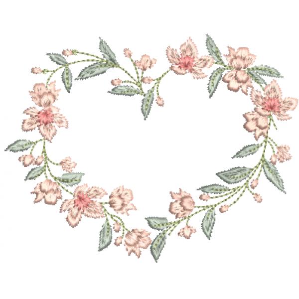 Coração e Flores - Pontos Cheio