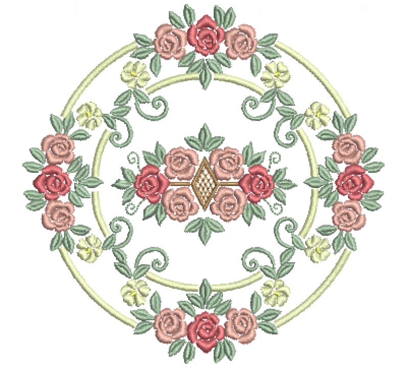Ramo Circular com Rosas - Ponto Cheio