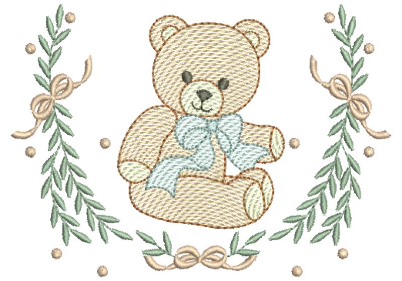 Urso no Ramo com Lacinhos e Poás - Rippled