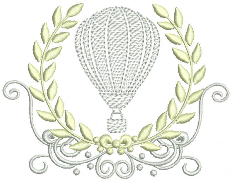 Arabesco com Coroa de Louros e Balão - Ponto Cheio e Rippled