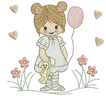 Menina com Urso - Rippled