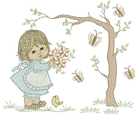 Menina Flores e Borboletas - Pontos Leves