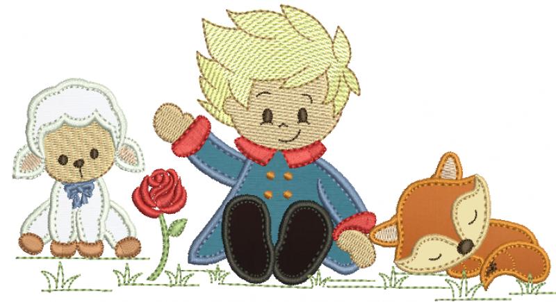 Pequeno Principe Sentado com Raposa e Ovelha - Aplique