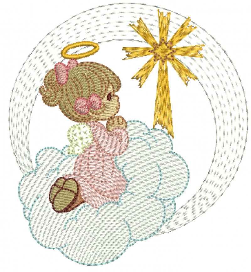 Anjo Menina Orando na Nuvem - Rippled