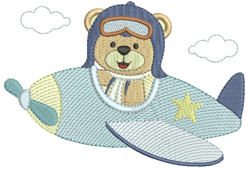 Urso Aviador no Avião Lateral - Rippled