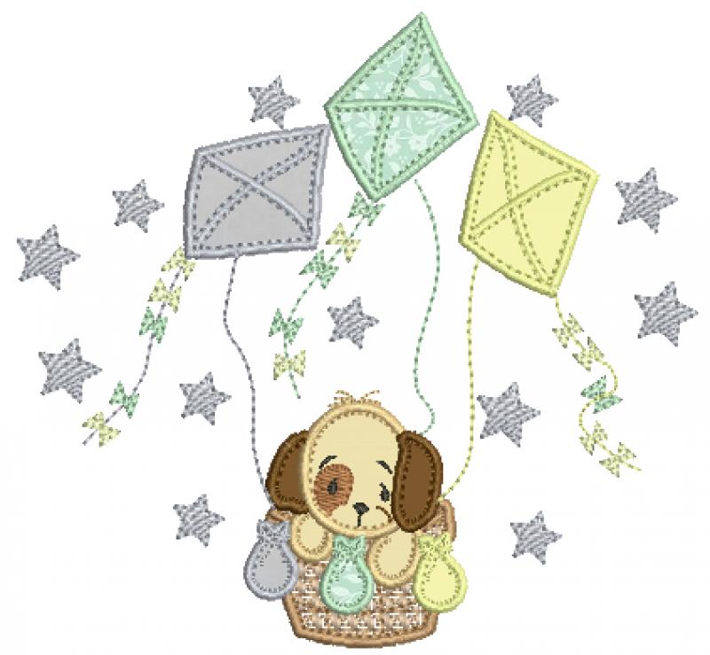 Cachorrinho no Balão de Pipas - Aplique