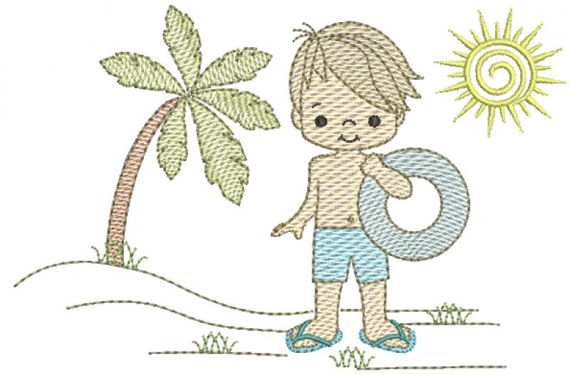 Menino na Praia com Bóia - Rippled