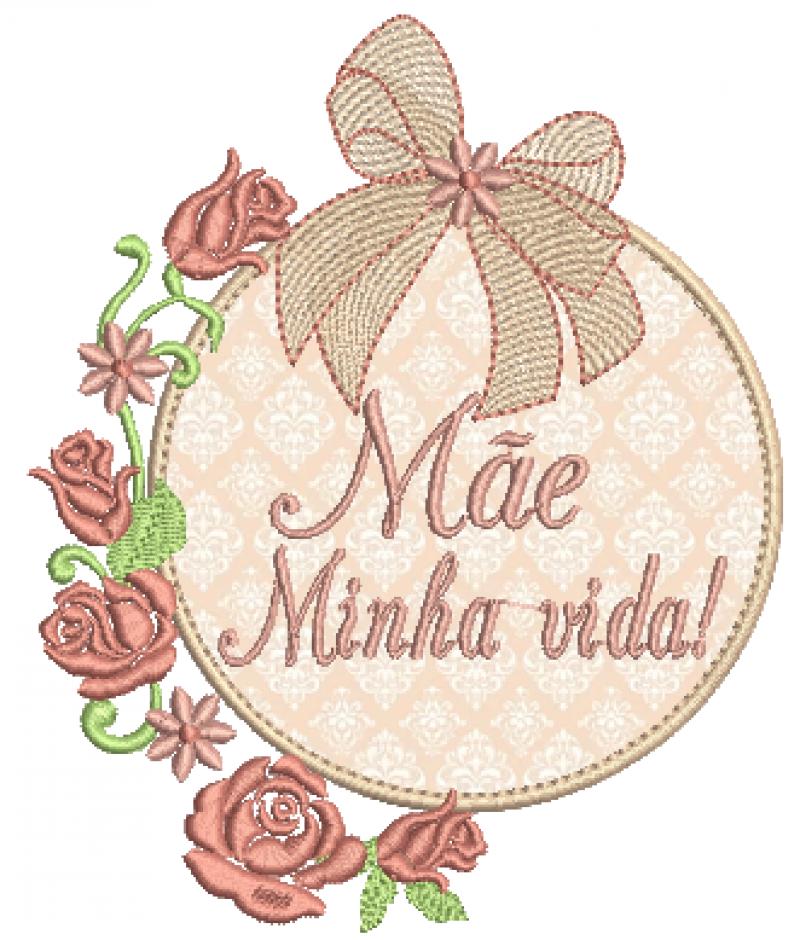 Moldura em Aplique com Laço e Rosas - Mãe Minha Vida