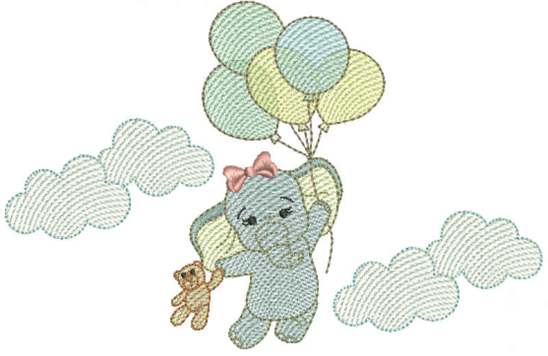 Elefanta nas Nuvens Segurando Urso e Bexigas - Rippled