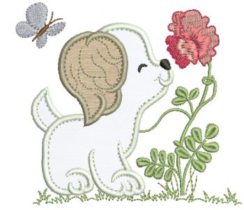 Cachorrinho com Flor - Aplique